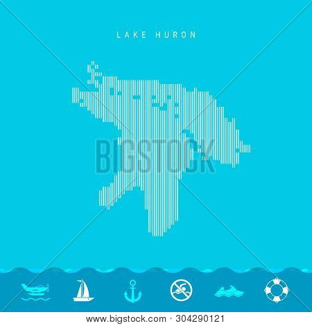 Vector Vertical Lines Pattern Map of Lake Huron, One of the Five Great Lakes of North America. Striped Simple Silhouette of Lake Huron. Lifeguard, Watercraft Icons. stock photo