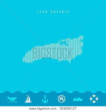 Vector Vertical Lines Pattern Map of Lake Ontario, One of the Five Great Lakes of North America. Striped Simple Silhouette of Lake Ontario. Lifeguard, Watercraft Icons. stock photo