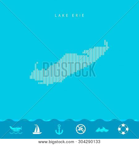 Vector Vertical Lines Pattern Map of Lake Erie, One of the Five Great Lakes of North America. Striped Simple Silhouette of Lake Erie. Lifeguard, Watercraft Icons. stock photo
