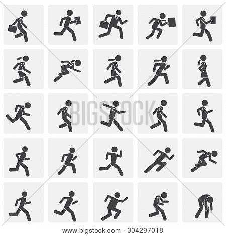 Running related icons set on background for graphic and web design. Simple illustration. Internet concept symbol for website button or mobile app. stock photo