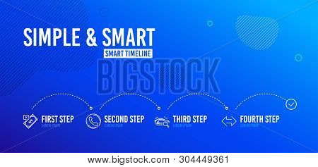 Infographic timeline. Search car, Call center and Rejected payment icons simple set. Sync sign. Find transport, Phone support, Bank transfer. Synchronize. 4 steps layout. Line search car icon. Vector stock photo