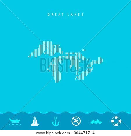 Vector Vertical Lines Pattern Map of all Great Lakes, One of the Lakes of North America. Striped Simple Silhouette of all Great Lakes. Lifeguard, Watercraft Icons. stock photo