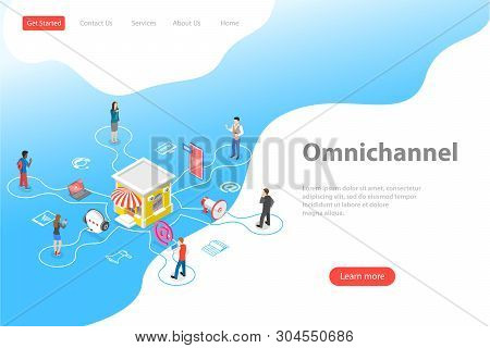 Isometric flat vector landing page template of cross channel, omnichannel. stock photo