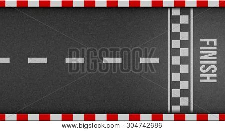 Creative illustration of finish line racing background top view. Art design. Start or finish on kart race. Grunge textured on the asphalt road. Abstract concept graphic element stock photo
