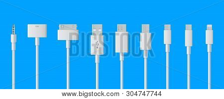 Creative illustration of cellphone usb charging plugs cable isolated on background. Art design smart phone universal recharger accessories. Type-c interfaces, connect ports element stock photo