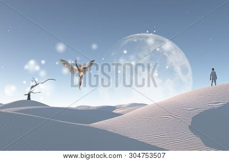 Surreal white desert with dry tree, big moon at the horizon. Man in white suit and bowler stands on a sand dune. Man with wings represents angel. 3D rendering stock photo