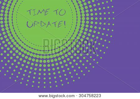 Conceptual hand writing showing Time To Update. Business photo text act updating something someone or updated version program Abstract geometric deep design Simulating depth and stains. stock photo