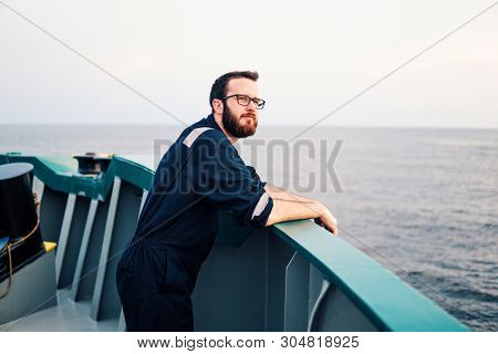 Deck Officer on deck of offshore vessel or ship stock photo
