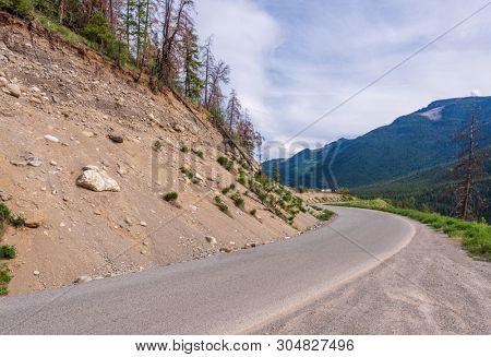 Mountain road in British Columbia, Canada. stock photo