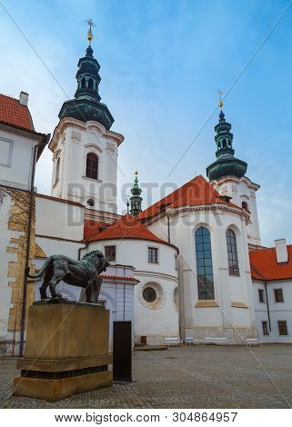 Strahov Monastery is a Premonstratensian abbey. Most popular landmark in Prague, Czech Republic, Central Europe. stock photo