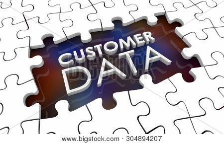 Customer Data Incomplete Puzzle Pieces Hole Gap 3d Illustration stock photo