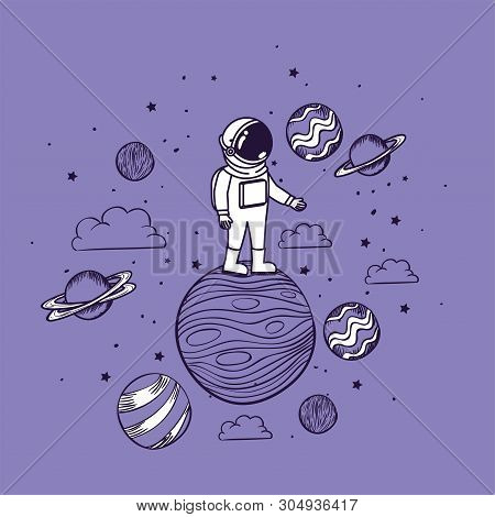 Astronaut draw with planets design, Spaceman galaxy cosmonaut universe space science and technology theme Vector illustration stock photo