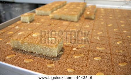 close up of arab cake on display in market stock photo