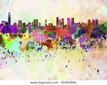 Tel aviv skyline in watercolor background