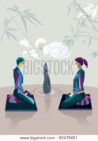 Men and women sitting in the lotus position in a zen garden practicing silent meditation. They belong to the tradition of Zen Buddhism. Behind them the moon and some clouds. stock photo