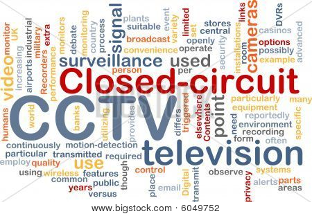 Word cloud concept illustration of CCTV surveillance cameras stock photo