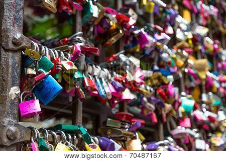 Love padlocks in Juliet s house Florence Italy ** Note: Shallow depth of field stock photo