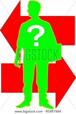 A silhouette of a business man stands alone carrying a file with an interrogation mark on his chest and arrows behind him with opposite directions. stock photo
