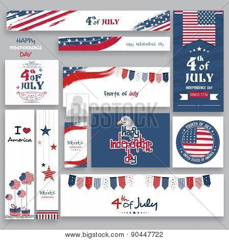 Social media and marketing headers, ads, post or banners in national flag color for 4th of July, Ame