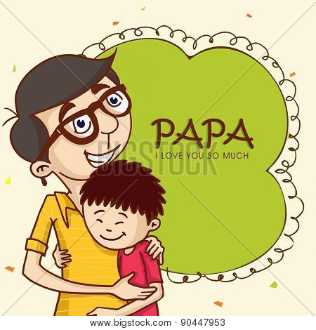 Cartoon design of a father hugging to his son on the occasion of Happy Father\'s Day celebrations.