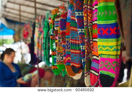 Colorful socks at Dry Bridge market in Tbilisi Georgia. Dry bridge today is most famous flea and souvenir market in Georgia stock photo