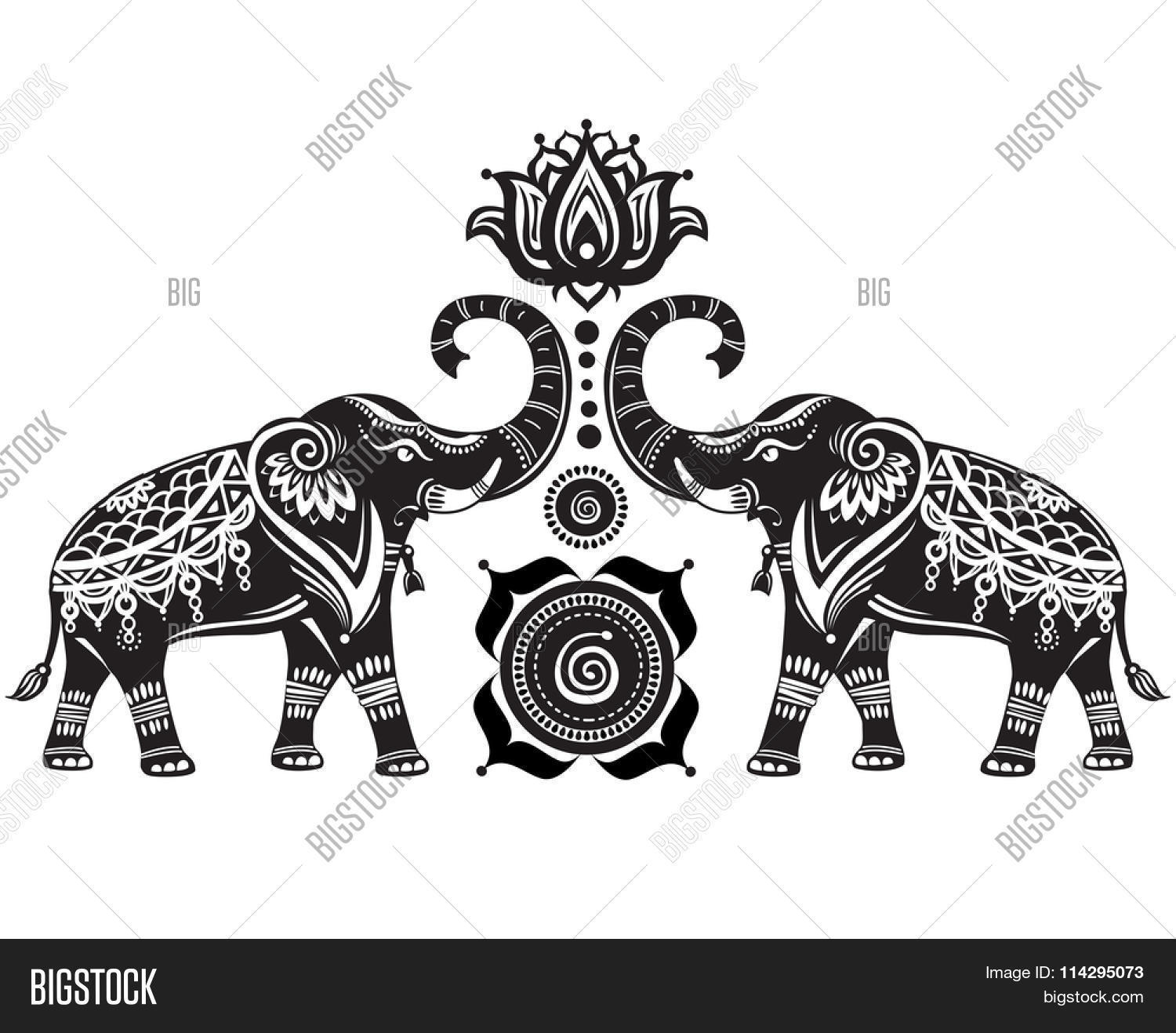 Stylized Decorated Elephants And Lotus Flower Photo Stock