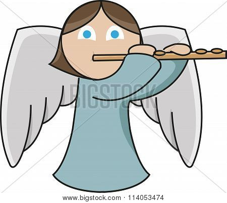 A cute little angel is playing the flute emphatically. stock photo