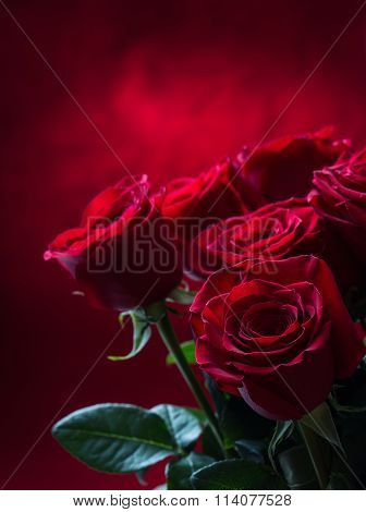 Rose. Red roses.  Bouquet of red roses. Several roses on Granite background. Valentines Day, wedding-Lg Fridge Magnet Skin (size 36x65)