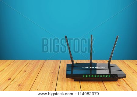 Wi-Fi wireless router on wooden table 3d stock photo