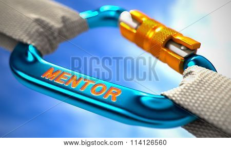 White Ropes Connected by Blue Carabiner Hook with Text Mentor. Selective Focus. stock photo