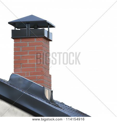 Red Brick Chimney Grey Steel Tile Roof Texture Gray Tiled Roofing Large Detailed Isolated Vertical Closeup Modern Residential House Rooftop Tiles Detail Textured Pattern Copy Space stock photo