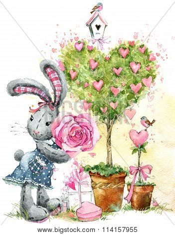 Cute bunny rabbit. Valentines day card. Valentines love Tree. Watercolor bunny rabbit illustration.-Dishwasher Magnet Skin (size 24x24)