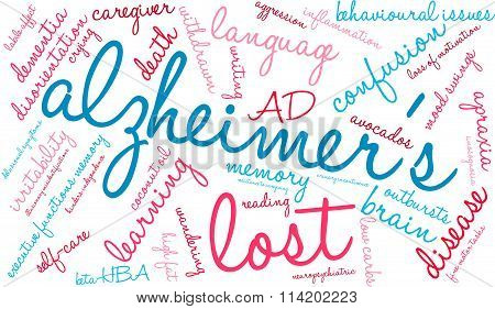 Alzheimer's word cloud on a white background. stock photo
