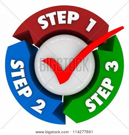 Three steps words and numbers on arrows in a circle to illustrate a process, system, directions or i