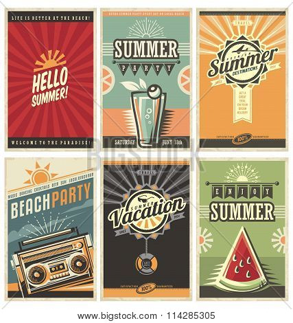 Set Of Retro Summer Holiday Posters Travel And Vacation Vintage Signs Collection Sun The Sea Promotional Banners Beach Party Vector Design