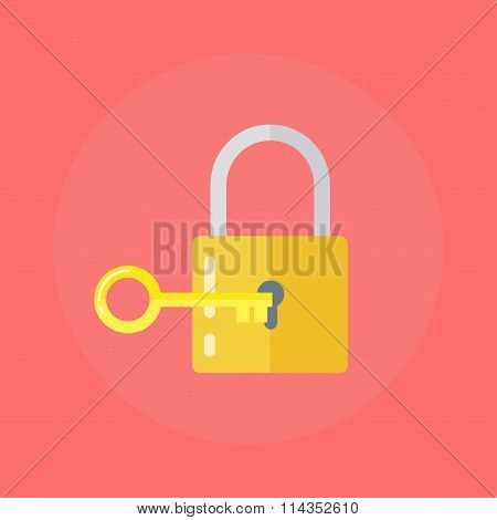 Lock With A Key In A Flat Style