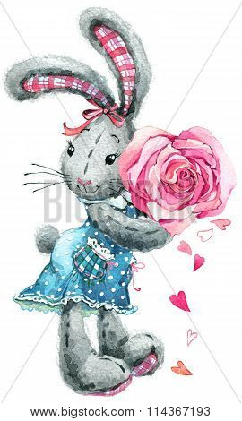Cute bunny rabbit. Watercolor bunny rabbit and rose flower illustration. Greeting card.-Dishwasher Magnet Skin (size 24x24)