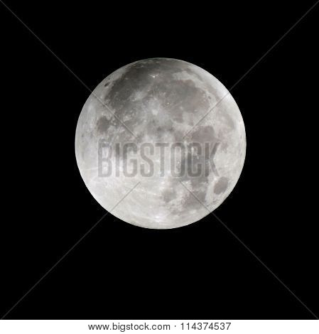 Supermoon of 27-28 september 2015. Close-up photo of full moon isolated on a black background. View from the territory of Italy, Sicily. stock photo