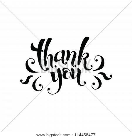 Thank you lettering with watercolor hearts on background. Modern typography. Thank you postcard calligraphy template. stock photo