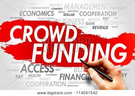 CROWD FUNDING word cloud business concept presentation background stock photo