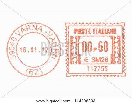 ITALY - CIRCA 2011: Red postage meter circa 2011 in Italy vintage stock photo