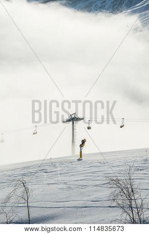 Ski lifts in Shahdag mountain skiing resort stock photo