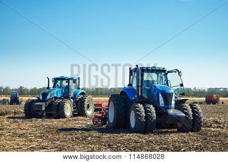 Agricultural Machinery On The Field