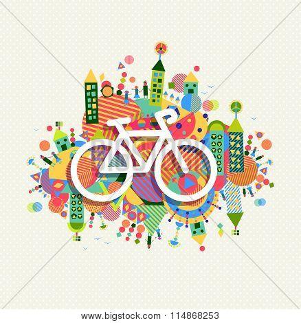 Green Environment Bike Icon Vibrant Colors Poster