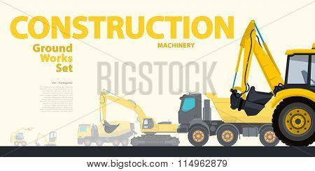Construction equipment - yellow typography set of ground works machines vehicles - Excavator.