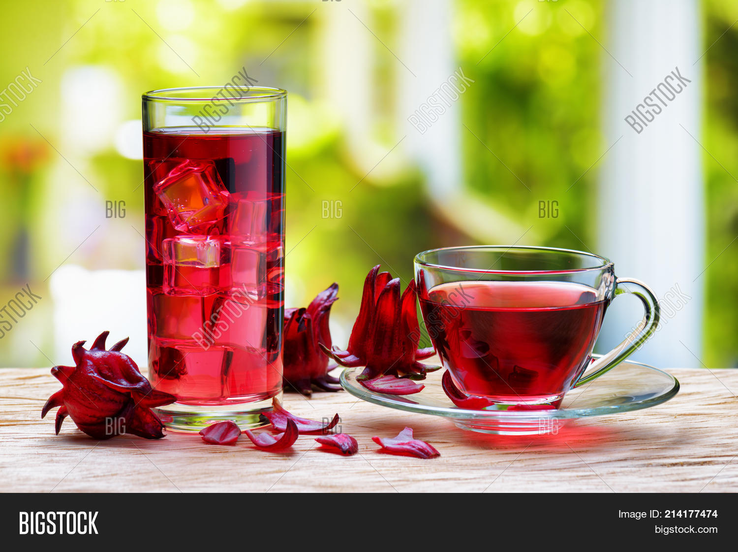 Cup Of Hot Hibiscus Tea Red Sorrel And The Same Cold Drink