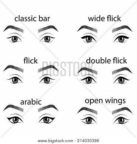 Various types of eyeliner, vector set. Types of eye makeup. Eyeliner shape tutorial. Illustration of eyebrow line make up isolated on white background. Beauty article, magazine, book. stock photo