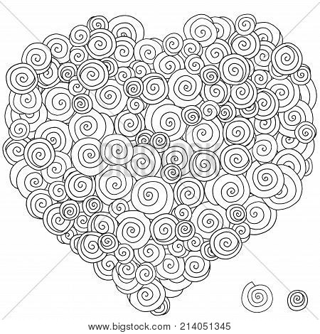 Heart-shaped pattern for coloring book. Artistically ethnic pattern. Hand-drawn swirls ringlets. Ethnic doodle vector zentangle tribal design element. Coloring book for adult. stock photo