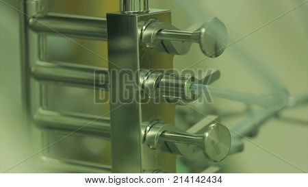 Pharmaceutical technology equipment facility for water preparation, cleaning and treatment at pharmacy plant. pharmaceutical factory equipment mixing tank on production line in pharmacy industry manufacture factory stock photo