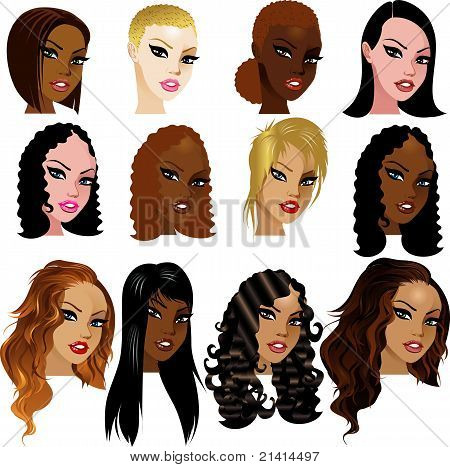 Vector Illustration of Mixed Biracial Women Faces. Great for avatars makeup skin tones or hair styles of mixed women. stock photo